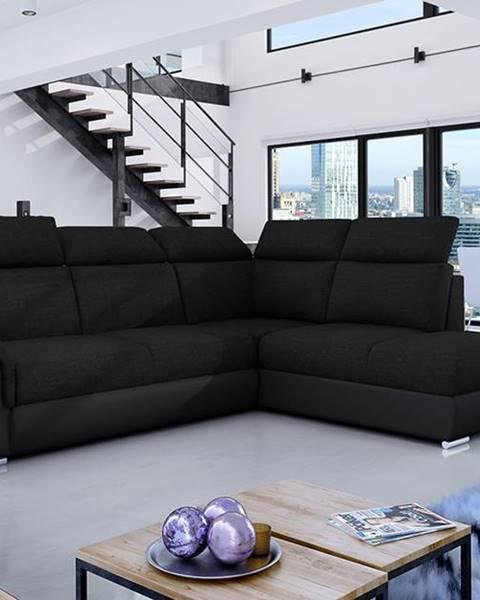 NABBI Leren P rohová sedačka s rozkladom a úložným priestorom čierna (Sawana 14)