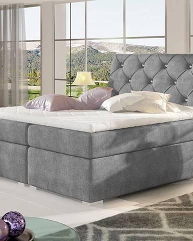 Beneto 180 čalúnená manželská posteľ s úložným priestorom tmavosivá (Omega 13)