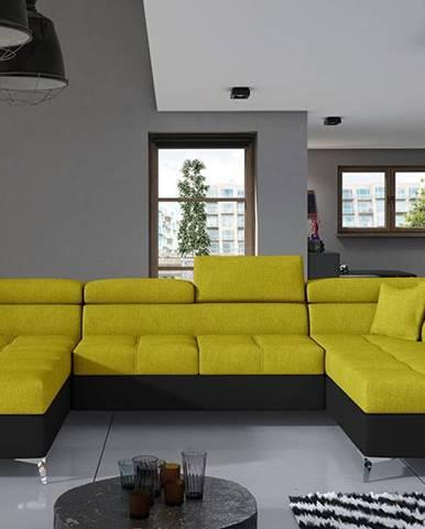 Enrico U P rohová sedačka u s rozkladom a úložným priestorom žltá