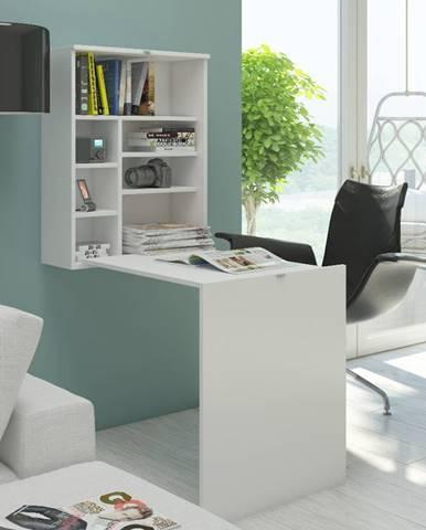 Hide rozkladací písací stolík s regálom biela