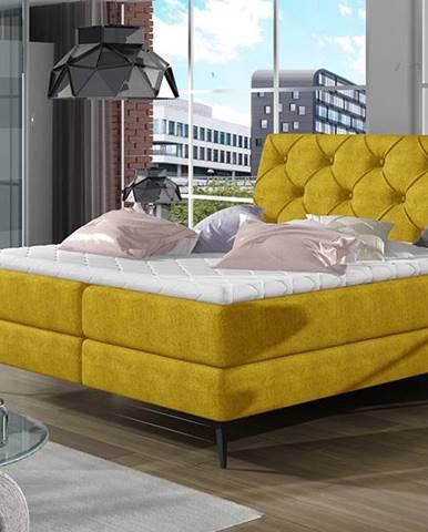 Lazio 160 čalúnená manželská posteľ s úložným priestorom žltá