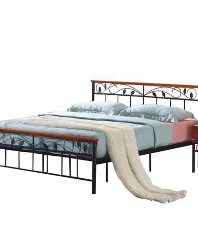 Morena 160 kovová manželská posteľ s roštom čierna