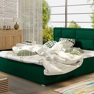 Liza 180 čalúnená manželská posteľ s roštom tmavozelená