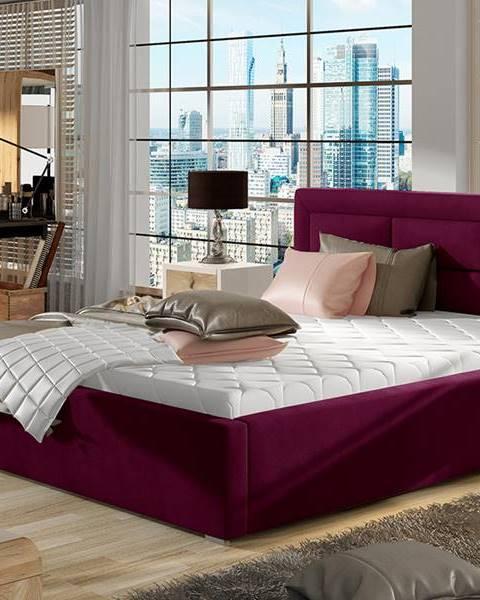 NABBI Rovigo UP 140 čalúnená manželská posteľ s roštom vínová