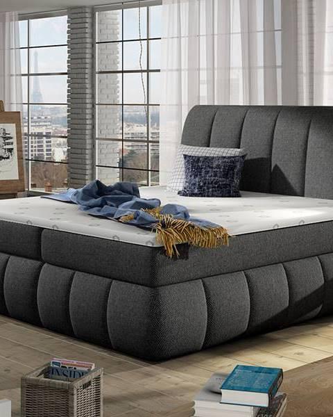 NABBI Vareso 140 čalúnená manželská posteľ s úložným priestorom sivá (Inari 91)