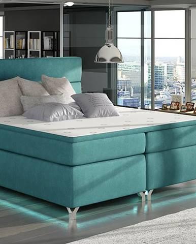 Avellino 180 čalúnená manželská posteľ s úložným priestorom svetlomodrá