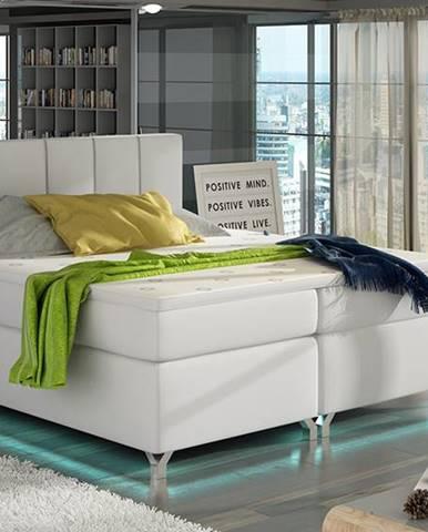 Barino 140 čalúnená manželská posteľ s úložným priestorom biela