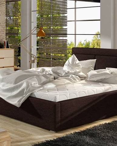 Branco UP 180 čalúnená manželská posteľ s roštom tmavohnedá (Sawana 26)