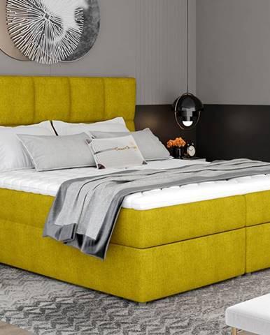 Grosio 185 čalúnená manželská posteľ s úložným priestorom žltá