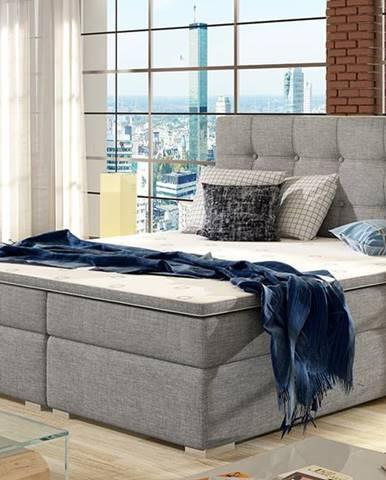 Isola 140 čalúnená manželská posteľ svetlosivá