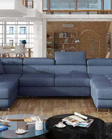 Rossano U L rohová sedačka u s rozkladom modrá (Solid 77)
