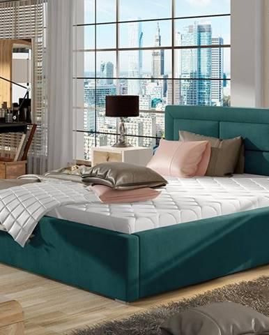Rovigo 160 čalúnená manželská posteľ s roštom tyrkysová
