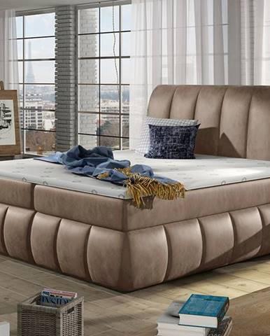 Vareso 180 čalúnená manželská posteľ s úložným priestorom hnedá (Monolith 09)