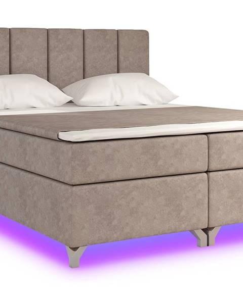 NABBI Barino 160 čalúnená manželská posteľ s úložným priestorom svetlohnedá