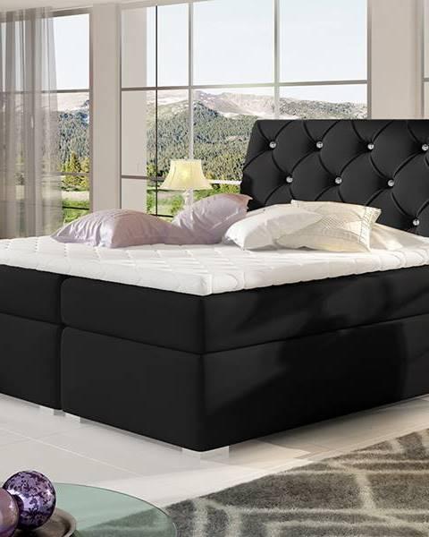 NABBI Beneto 180 čalúnená manželská posteľ s úložným priestorom čierna (Soft 11)
