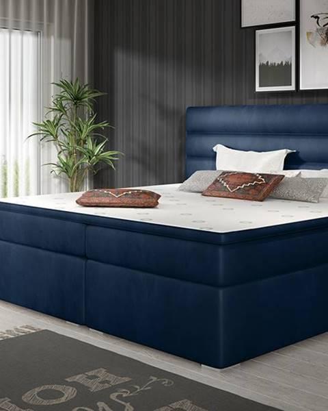 NABBI Spezia 180 čalúnená manželská posteľ s úložným priestorom tmavomodrá