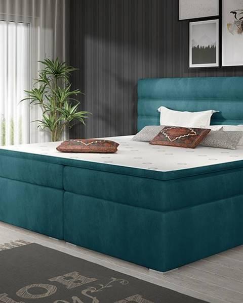 NABBI Spezia 180 čalúnená manželská posteľ s úložným priestorom tyrkysová