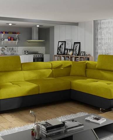 Almero P rohová sedačka s rozkladom a úložným priestorom žltá