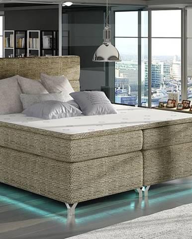 Avellino 160 čalúnená manželská posteľ s úložným priestorom cappuccino
