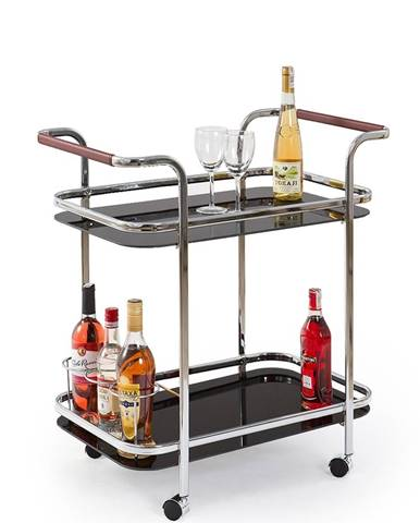 Bar-7 servírovací stolík na kolieskach čierna