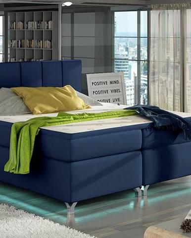 Barino 140 čalúnená manželská posteľ s úložným priestorom modrá