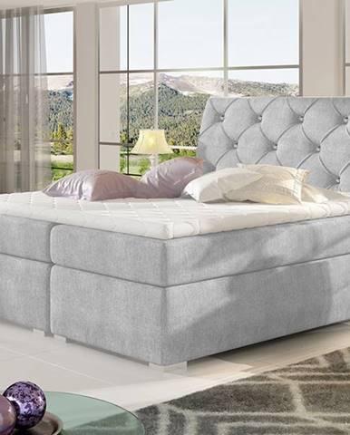 Beneto 180 čalúnená manželská posteľ s úložným priestorom svetlosivá (Omega 02)