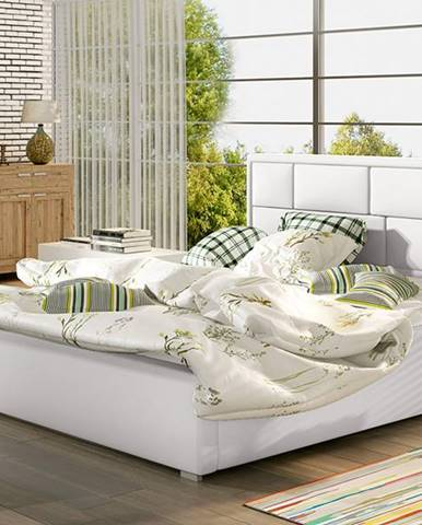 Liza 200 čalúnená manželská posteľ s roštom biela