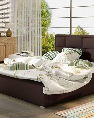 Liza 200 čalúnená manželská posteľ s roštom tmavohnedá (Soft 66)
