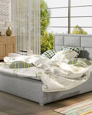 Liza UP 200 čalúnená manželská posteľ s roštom svetlosivá (Sawana 21)
