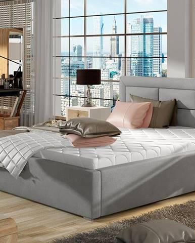 Rovigo UP 200 čalúnená manželská posteľ s roštom svetlosivá (Paros 05)