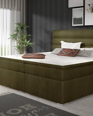 Spezia 140 čalúnená manželská posteľ s úložným priestorom khaki