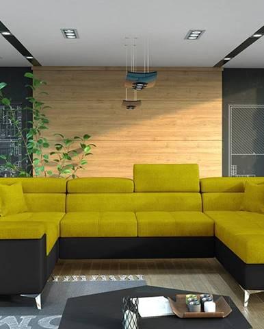 Torres U L rohová sedačka u s rozkladom a úložným priestorom žltá