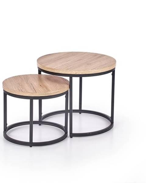 Halmar Oreo okrúhly konferenčný stolík (2 ks) dub san remo