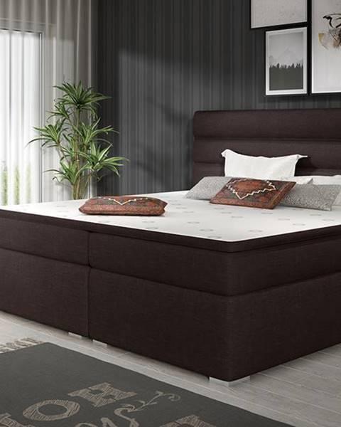 NABBI Spezia 140 čalúnená manželská posteľ s úložným priestorom tmavohnedá