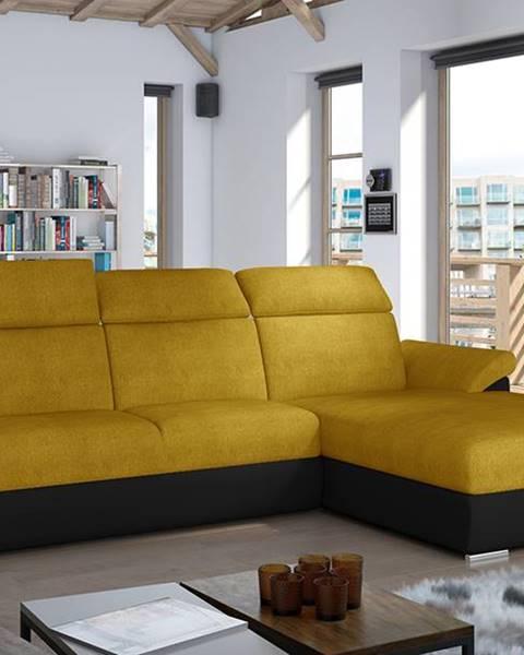 NABBI Tarragon P rohová sedačka s rozkladom a úložným priestorom žltá