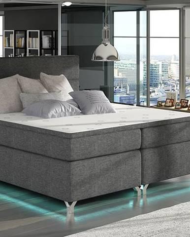 Avellino 140 čalúnená manželská posteľ s úložným priestorom sivá (Sawana 05)