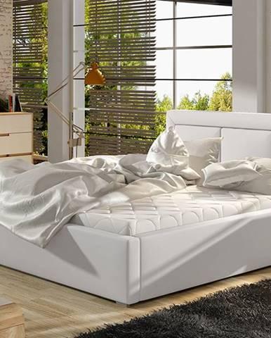 Branco 180 čalúnená manželská posteľ s roštom biela