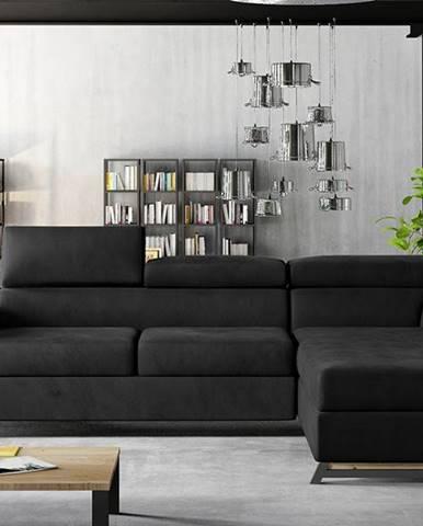 Korense P rohová sedačka s rozkladom a úložným priestorom čierna (Velvet Mat 99)