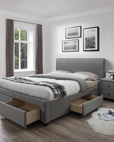 Modena 160 čalúnená manželská posteľ s roštom sivá