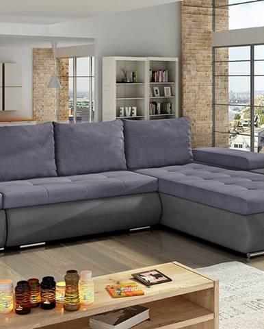 Oristano P rohová sedačka s rozkladom a úložným priestorom fialová