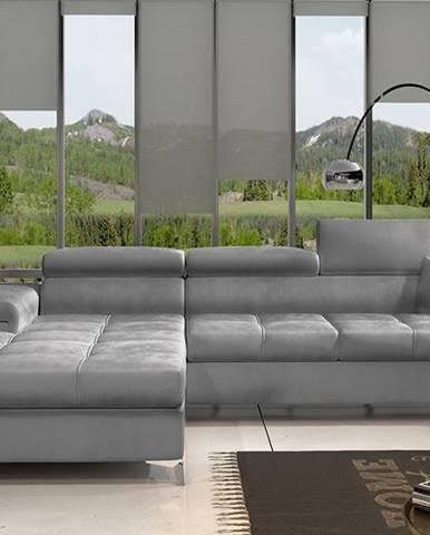 Rosino L rohová sedačka s rozkladom a úložným priestorom svetlosivá (Monolith 84)
