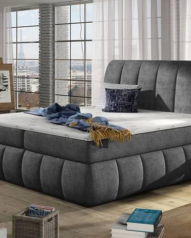 Vareso 140 čalúnená manželská posteľ s úložným priestorom tmavosivá (Omega 13)