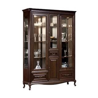 Verona V-W3 rustikálna vitrína s osvetlením hnedá
