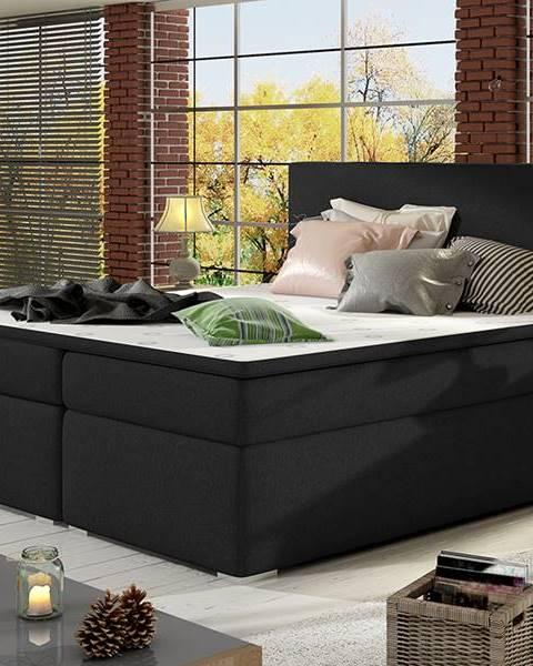 NABBI Diana 140 čalúnená manželská posteľ s úložným priestorom čierna (Sawana 14)