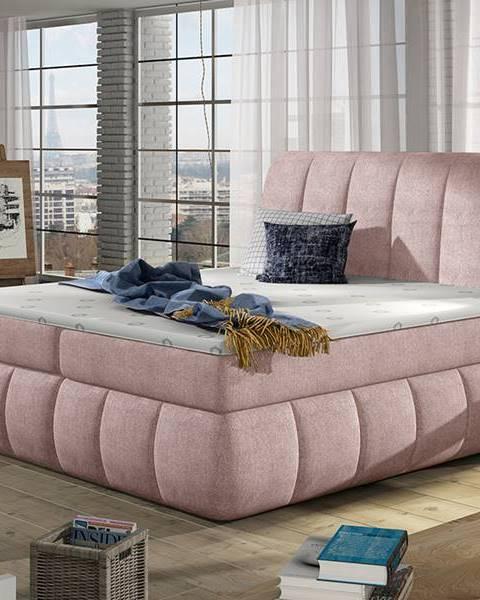 NABBI Vareso 140 čalúnená manželská posteľ s úložným priestorom ružová