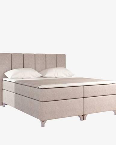 Barino 180 čalúnená manželská posteľ s úložným priestorom béžová (Dora 21)