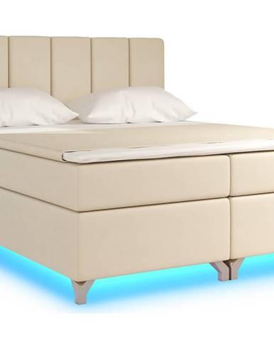 Barino 180 čalúnená manželská posteľ s úložným priestorom béžová (Soft 33)