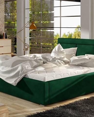 Branco UP 140 čalúnená manželská posteľ s roštom tmavozelená