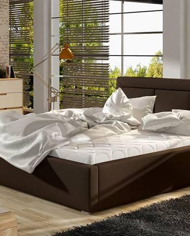 Branco UP 160 čalúnená manželská posteľ s roštom tmavohnedá (Soft 66)
