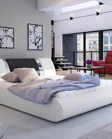 Folino 160 čalúnená manželská posteľ s roštom biela